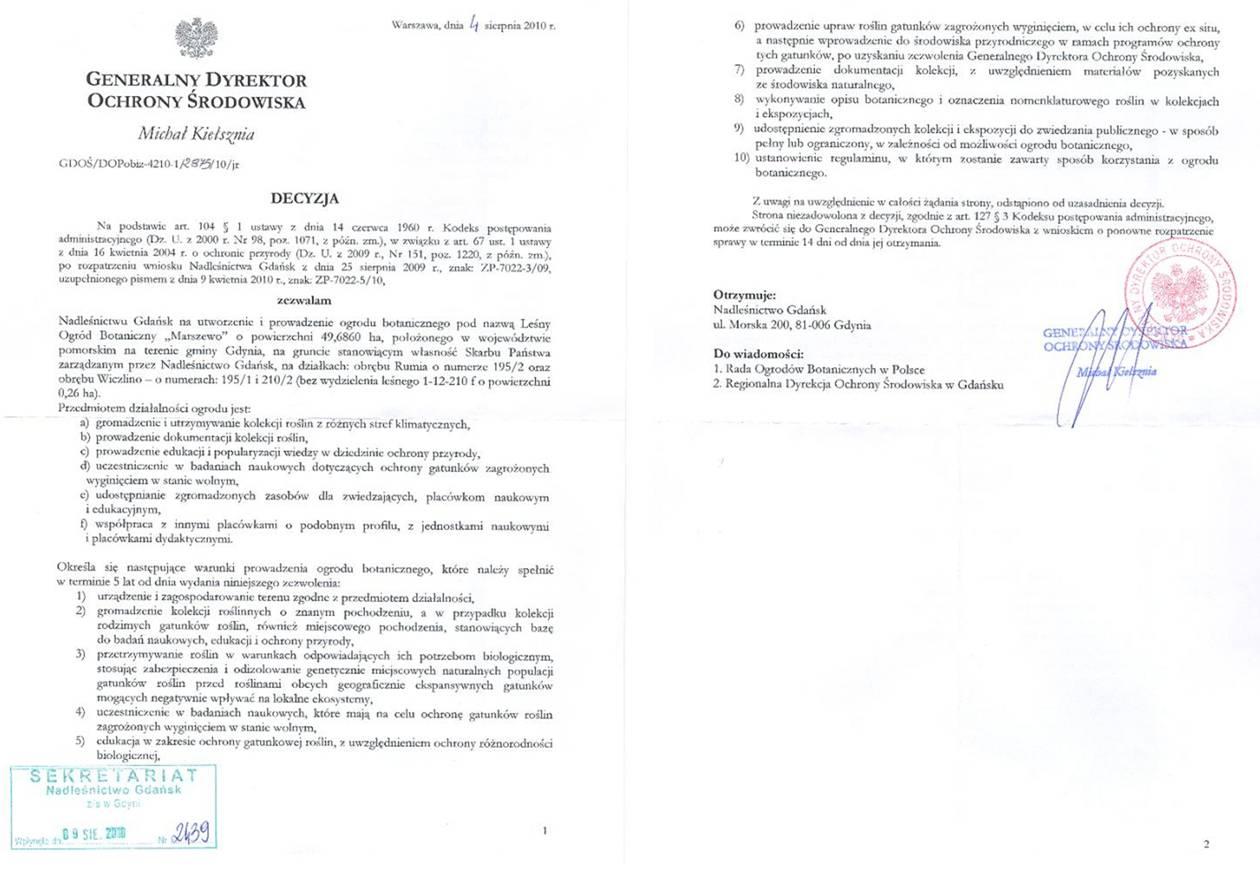 """Decyzja dyrektora GDOŚ - Decyzja zezwalająca na utworzenie Leśnego Ogrodu Botanicznego """"Marszewo"""""""